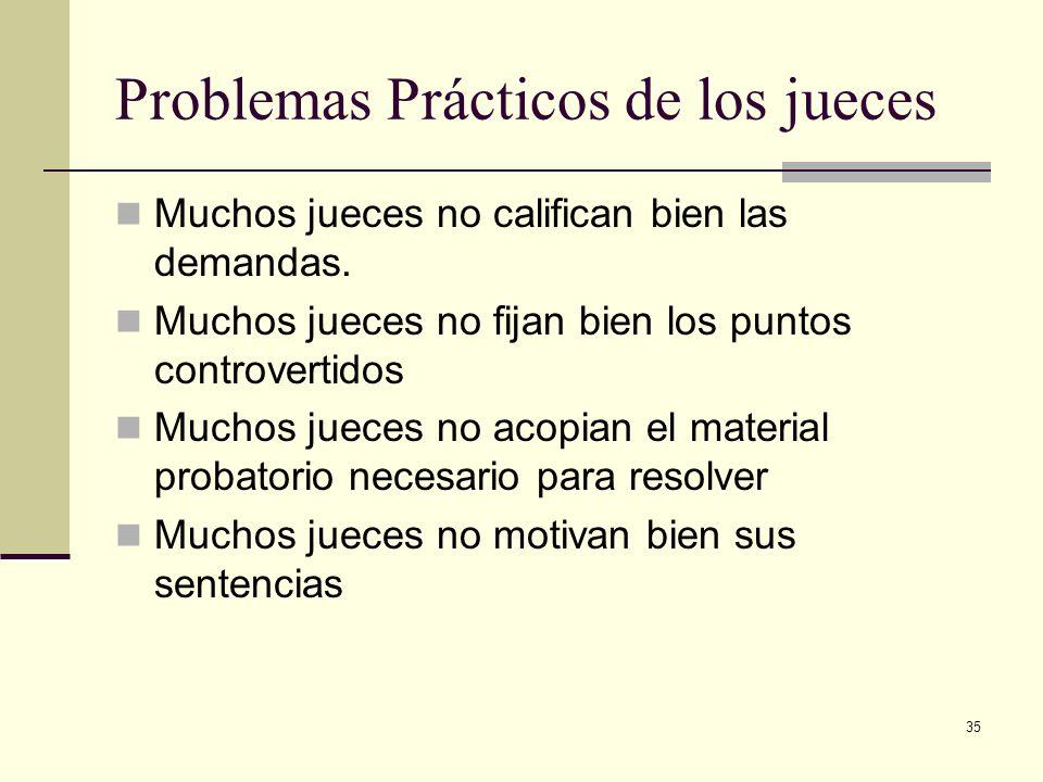 35 Problemas Prácticos de los jueces Muchos jueces no califican bien las demandas. Muchos jueces no fijan bien los puntos controvertidos Muchos jueces