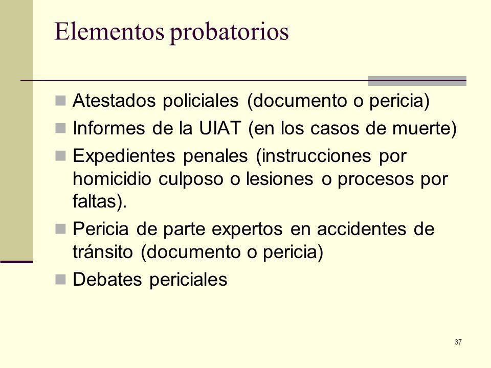 37 Elementos probatorios Atestados policiales (documento o pericia) Informes de la UIAT (en los casos de muerte) Expedientes penales (instrucciones po