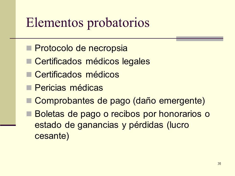 38 Elementos probatorios Protocolo de necropsia Certificados médicos legales Certificados médicos Pericias médicas Comprobantes de pago (daño emergent