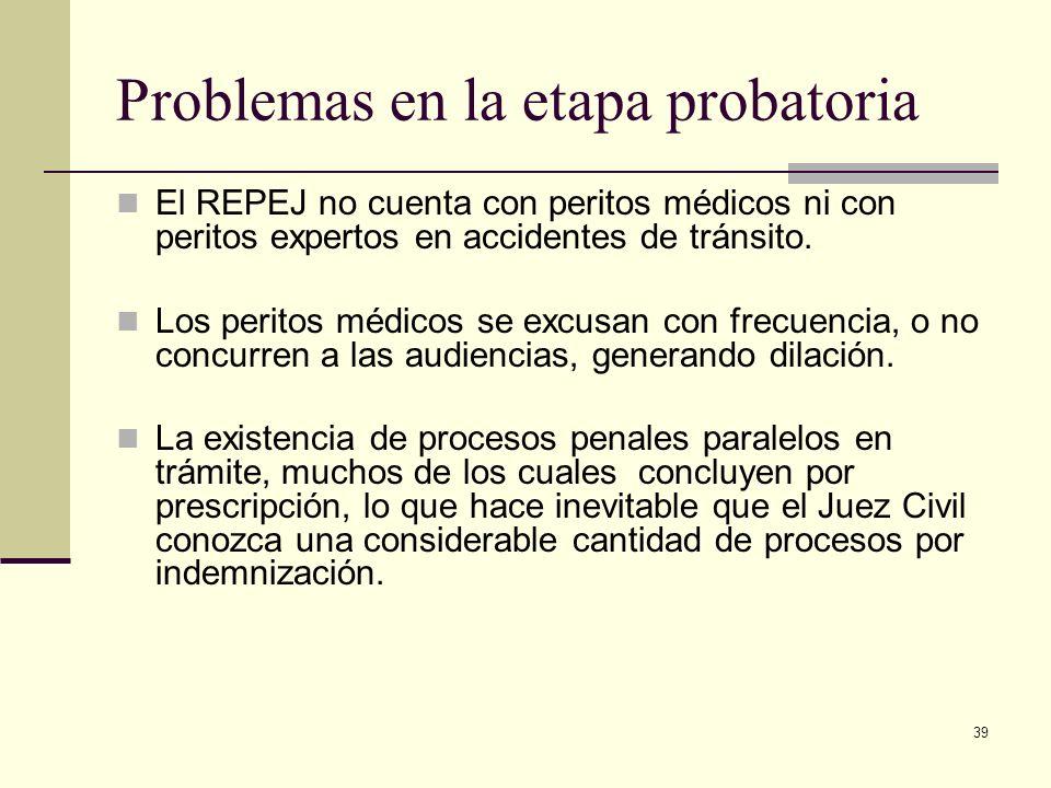 39 Problemas en la etapa probatoria El REPEJ no cuenta con peritos médicos ni con peritos expertos en accidentes de tránsito. Los peritos médicos se e