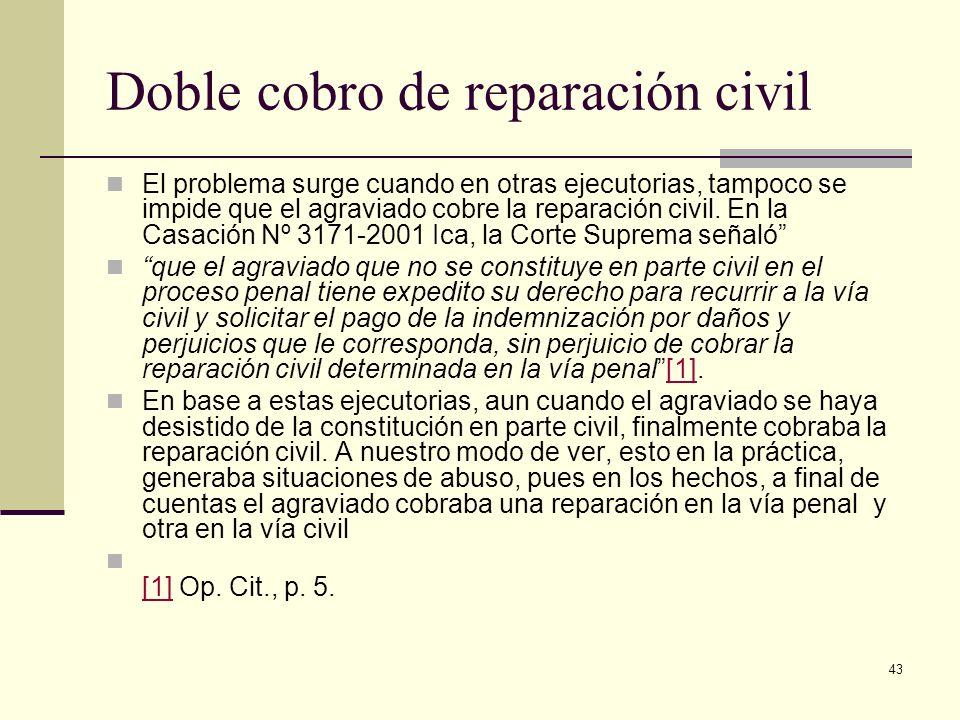 43 Doble cobro de reparación civil El problema surge cuando en otras ejecutorias, tampoco se impide que el agraviado cobre la reparación civil. En la