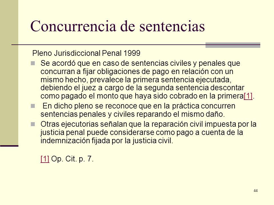 44 Concurrencia de sentencias Pleno Jurisdiccional Penal 1999 Se acordó que en caso de sentencias civiles y penales que concurran a fijar obligaciones