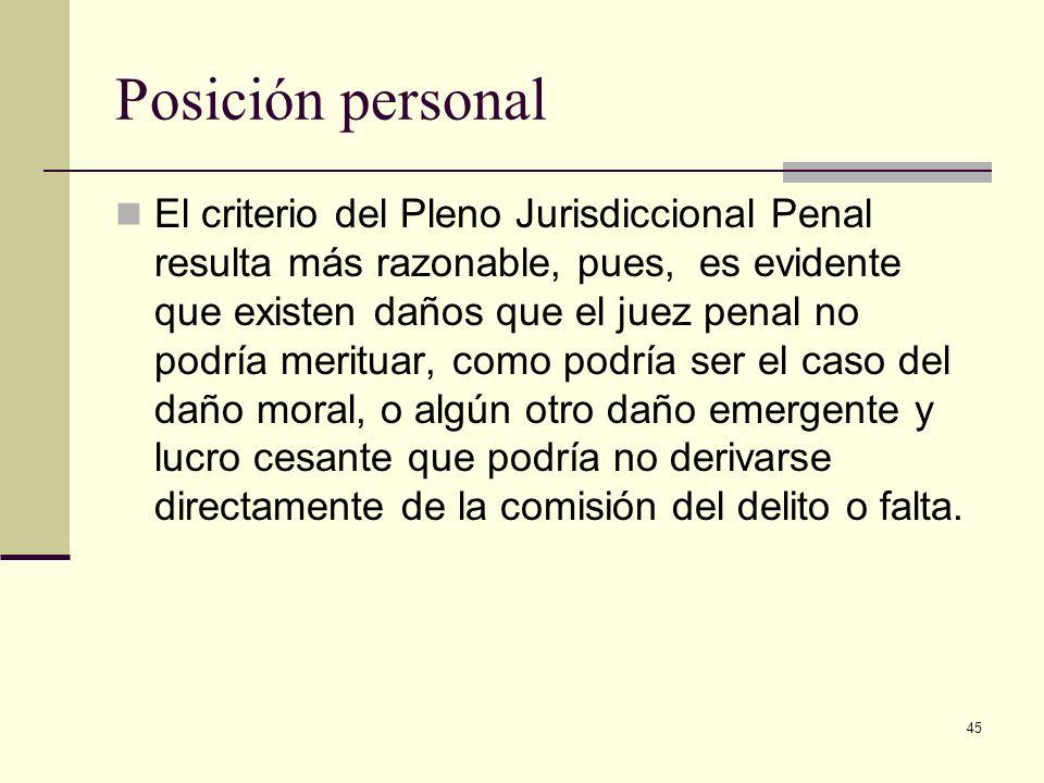 45 Posición personal El criterio del Pleno Jurisdiccional Penal resulta más razonable, pues, es evidente que existen daños que el juez penal no podría