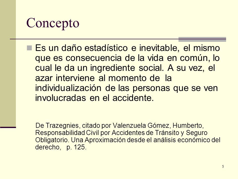 5 Concepto Es un daño estadístico e inevitable, el mismo que es consecuencia de la vida en común, lo cual le da un ingrediente social. A su vez, el az