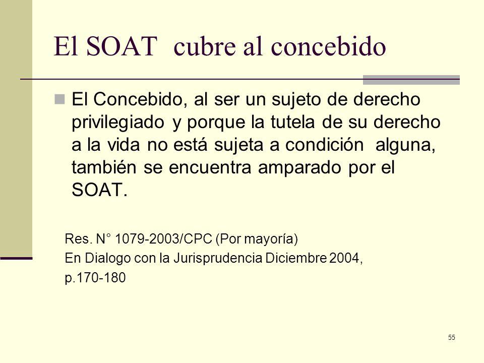 55 El SOAT cubre al concebido El Concebido, al ser un sujeto de derecho privilegiado y porque la tutela de su derecho a la vida no está sujeta a condi