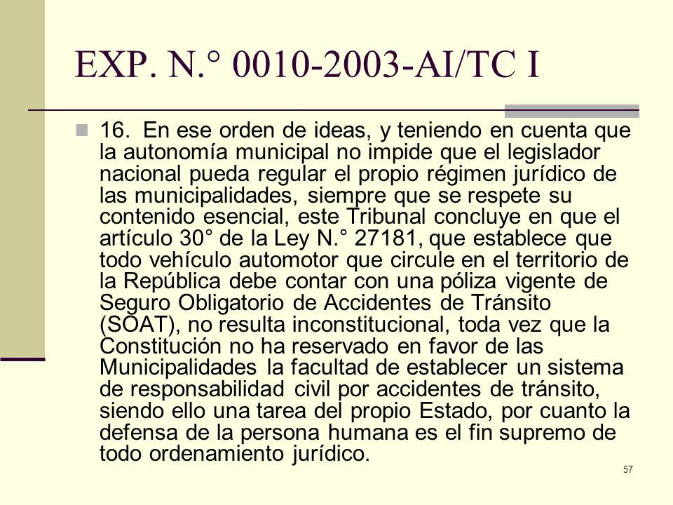 57 EXP. N.° 0010-2003-AI/TC I 16. En ese orden de ideas, y teniendo en cuenta que la autonomía municipal no impide que el legislador nacional pueda re
