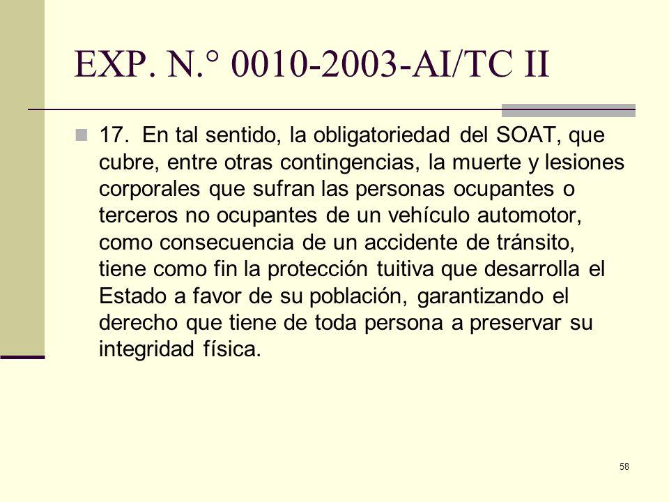 58 EXP. N.° 0010-2003-AI/TC II 17. En tal sentido, la obligatoriedad del SOAT, que cubre, entre otras contingencias, la muerte y lesiones corporales q