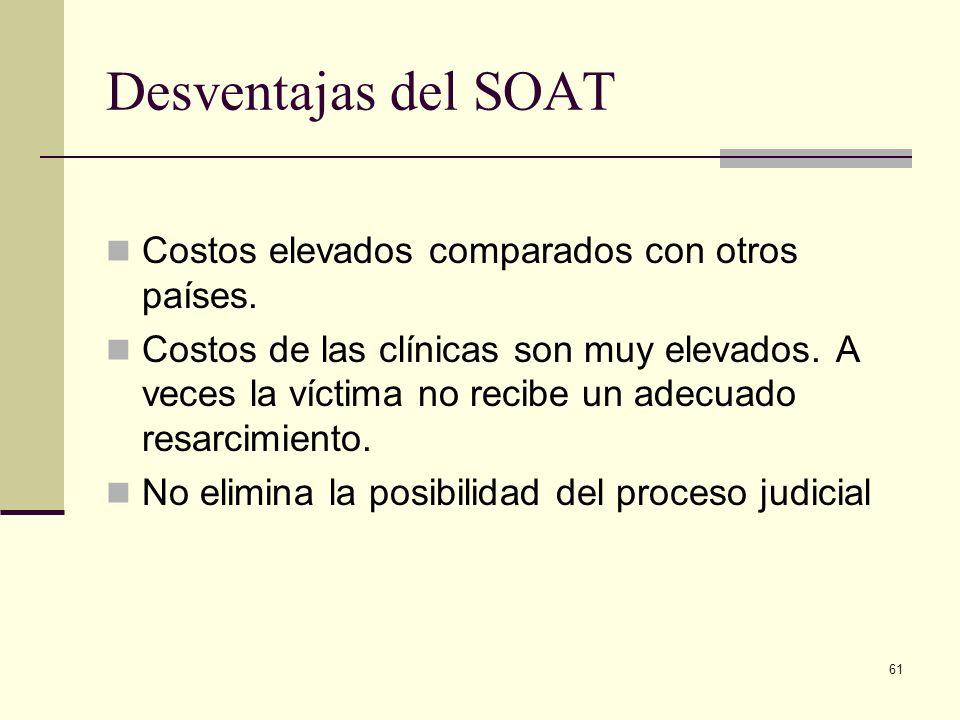 61 Desventajas del SOAT Costos elevados comparados con otros países. Costos de las clínicas son muy elevados. A veces la víctima no recibe un adecuado