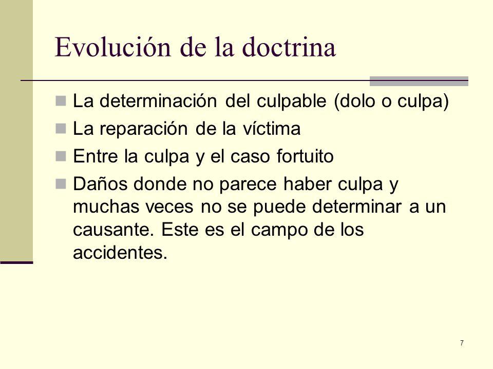7 Evolución de la doctrina La determinación del culpable (dolo o culpa) La reparación de la víctima Entre la culpa y el caso fortuito Daños donde no p