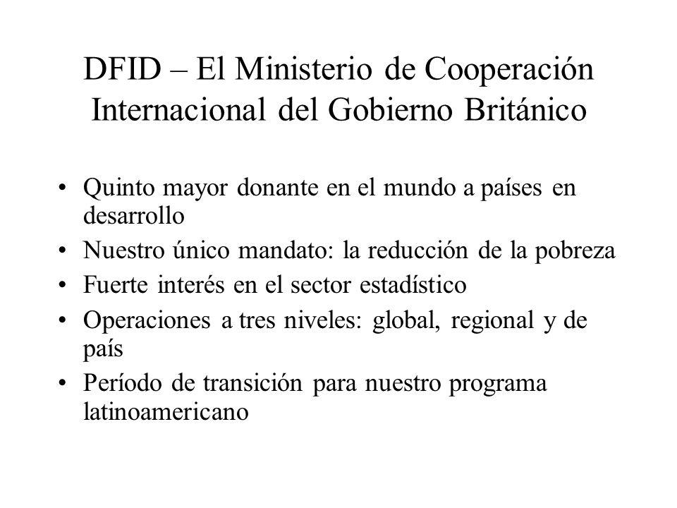 DFID – El Ministerio de Cooperación Internacional del Gobierno Británico Quinto mayor donante en el mundo a países en desarrollo Nuestro único mandato: la reducción de la pobreza Fuerte interés en el sector estadístico Operaciones a tres niveles: global, regional y de país Período de transición para nuestro programa latinoamericano