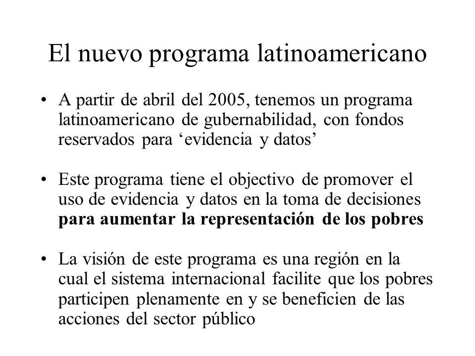 El nuevo programa latinoamericano A partir de abril del 2005, tenemos un programa latinoamericano de gubernabilidad, con fondos reservados para eviden