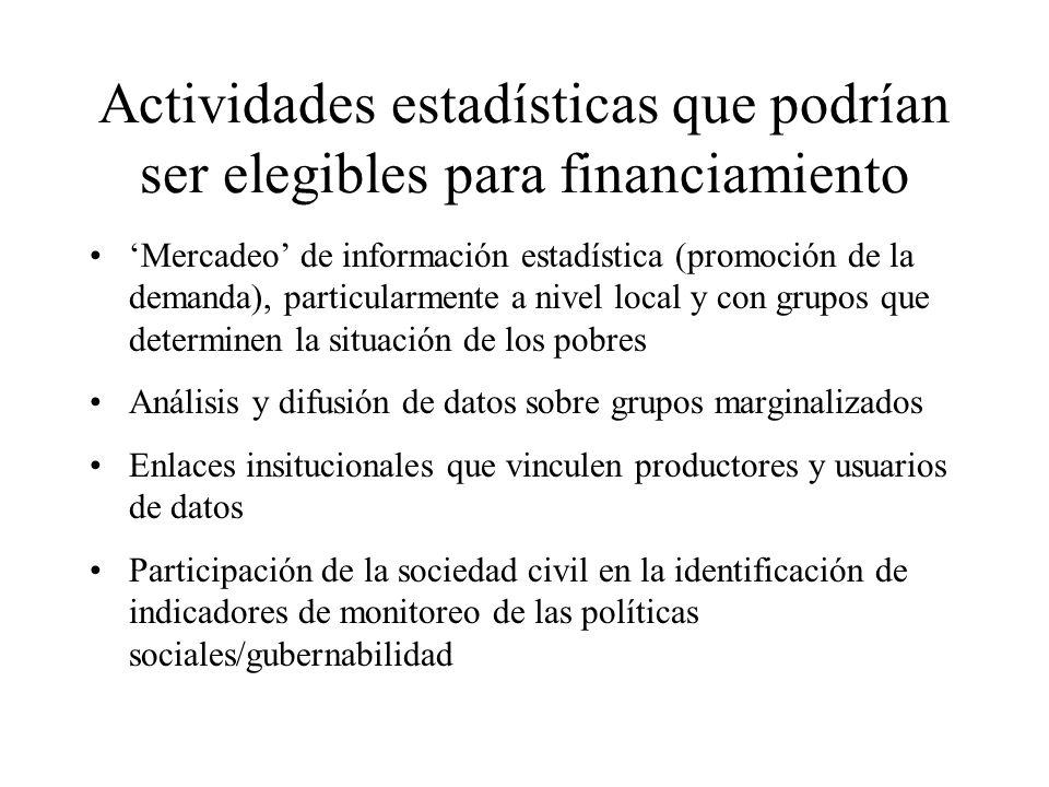 Actividades estadísticas que podrían ser elegibles para financiamiento Mercadeo de información estadística (promoción de la demanda), particularmente