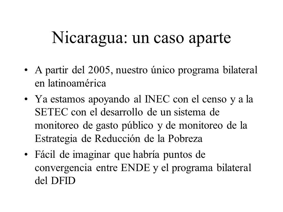 Nicaragua: un caso aparte A partir del 2005, nuestro único programa bilateral en latinoamérica Ya estamos apoyando al INEC con el censo y a la SETEC con el desarrollo de un sistema de monitoreo de gasto público y de monitoreo de la Estrategia de Reducción de la Pobreza Fácil de imaginar que habría puntos de convergencia entre ENDE y el programa bilateral del DFID