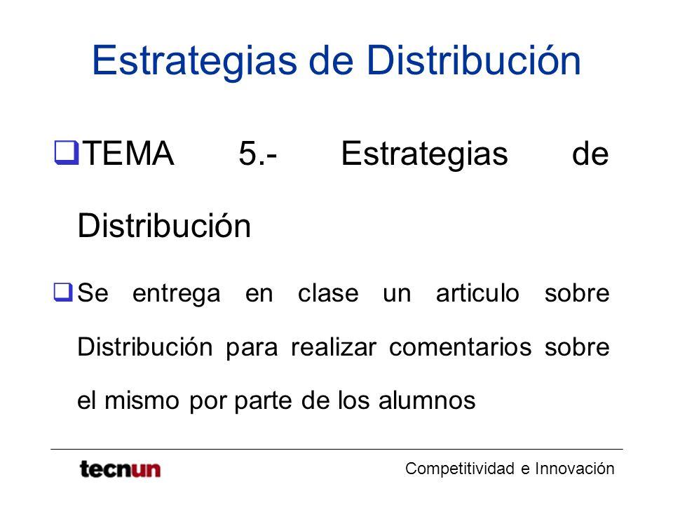 Competitividad e Innovación Estrategias de Distribución TEMA 5.- Estrategias de Distribución Se entrega en clase un articulo sobre Distribución para r