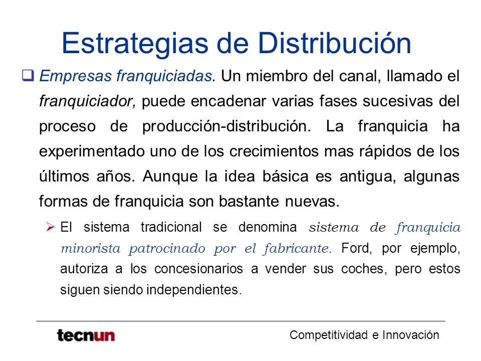 Competitividad e Innovación Estrategias de Distribución Empresas franquiciadas. Un miembro del canal, llamado el franquiciador, puede encadenar varias