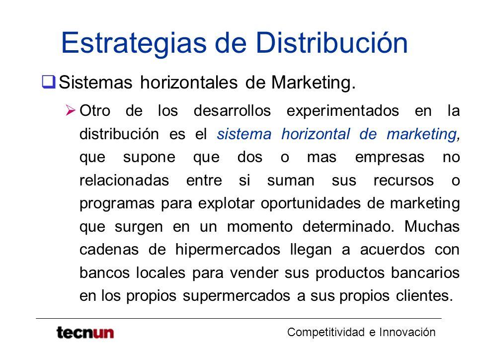 Competitividad e Innovación Estrategias de Distribución Sistemas horizontales de Marketing. Otro de los desarrollos experimentados en la distribución