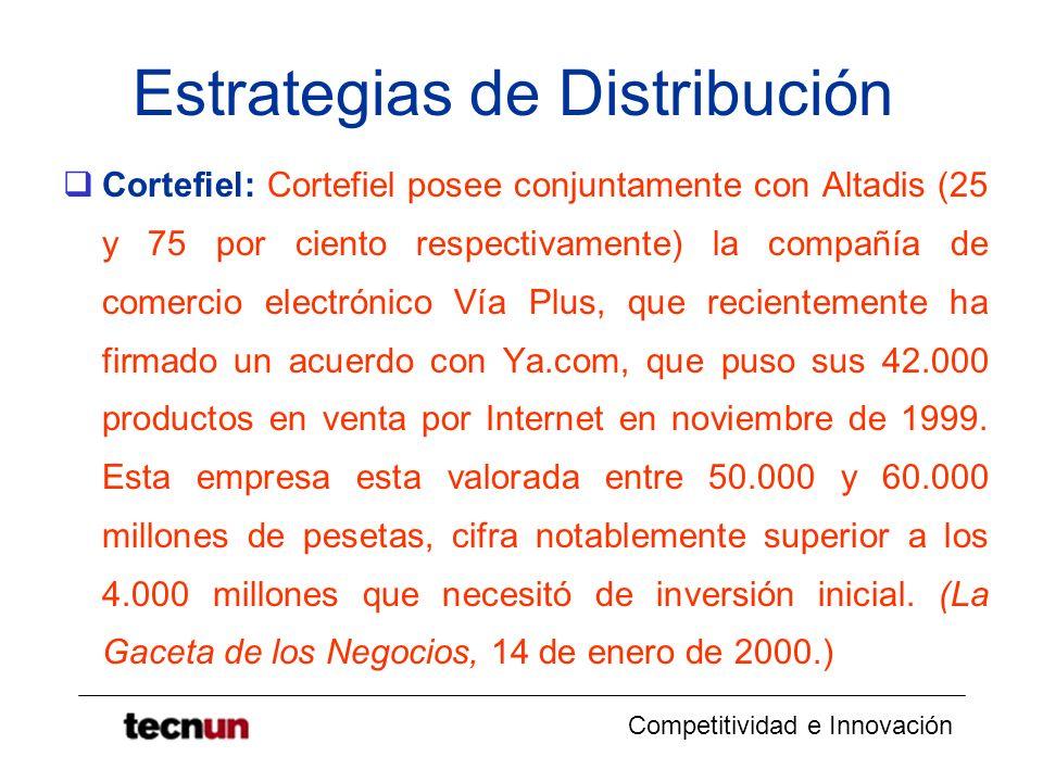 Competitividad e Innovación Estrategias de Distribución Cortefiel: Cortefiel posee conjuntamente con Altadis (25 y 75 por ciento respectivamente) la c