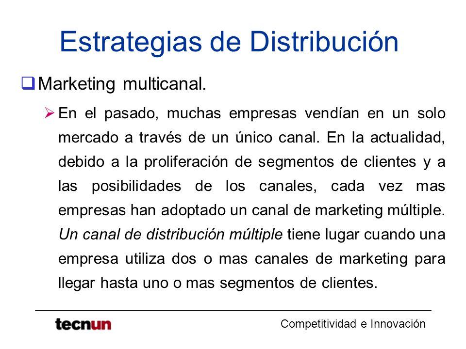 Competitividad e Innovación Estrategias de Distribución Marketing multicanal. En el pasado, muchas empresas vendían en un solo mercado a través de un