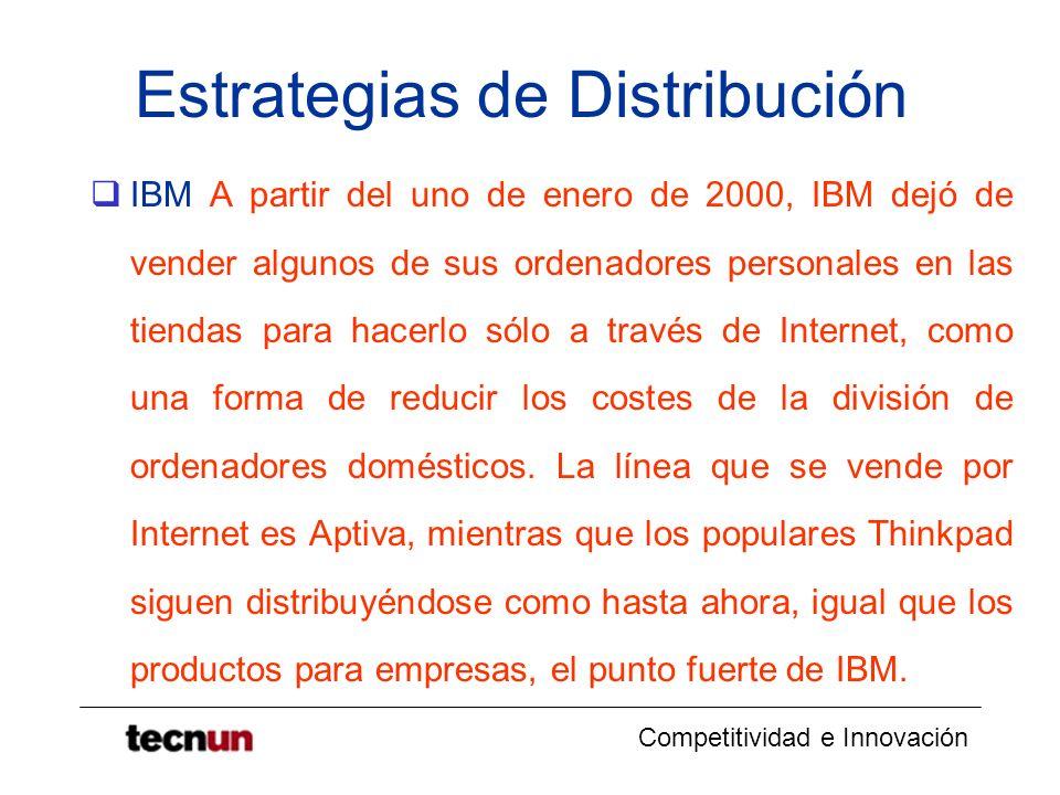 Competitividad e Innovación Estrategias de Distribución IBM A partir del uno de enero de 2000, IBM dejó de vender algunos de sus ordenadores personale