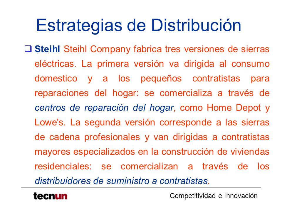 Competitividad e Innovación Estrategias de Distribución Steihl Steihl Company fabrica tres versiones de sierras eléctricas. La primera versión va diri