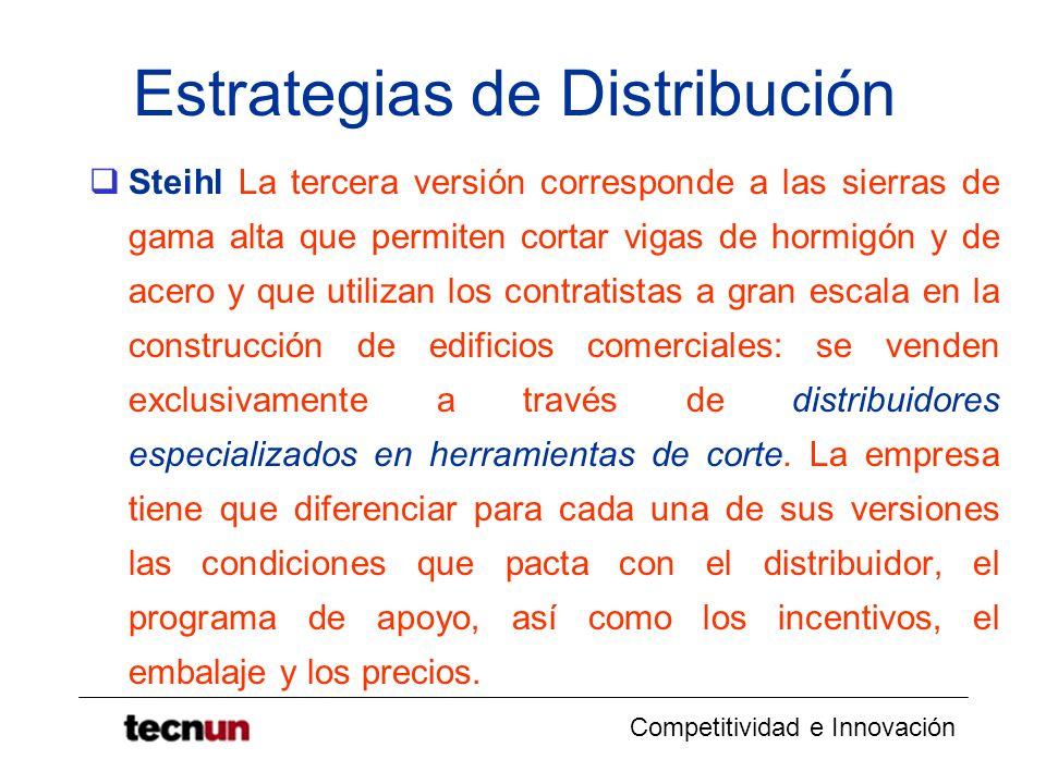 Competitividad e Innovación Estrategias de Distribución Steihl La tercera versión corresponde a las sierras de gama alta que permiten cortar vigas de