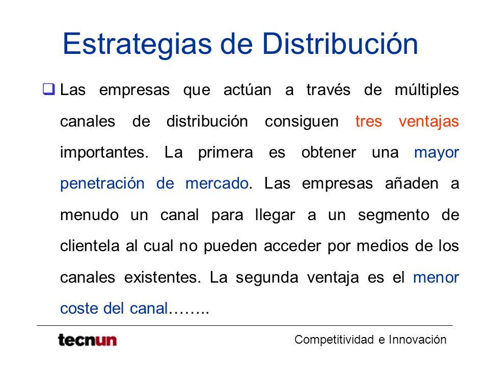 Competitividad e Innovación Estrategias de Distribución Las empresas que actúan a través de múltiples canales de distribución consiguen tres ventajas