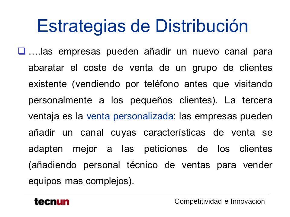 Competitividad e Innovación Estrategias de Distribución ….las empresas pueden añadir un nuevo canal para abaratar el coste de venta de un grupo de cli