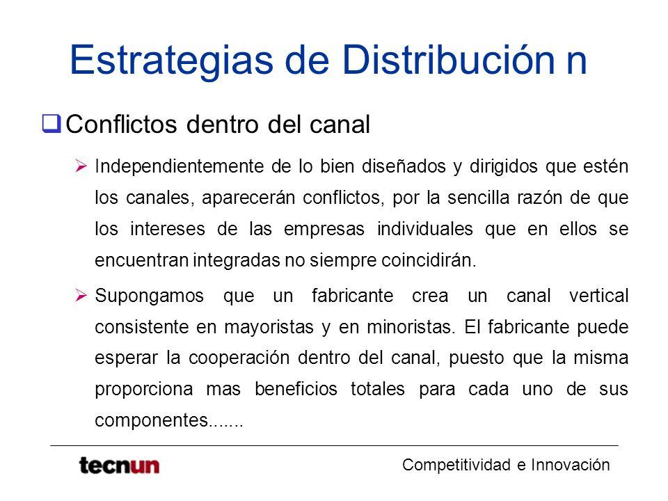 Competitividad e Innovación Estrategias de Distribución n Conflictos dentro del canal Independientemente de lo bien diseñados y dirigidos que estén lo