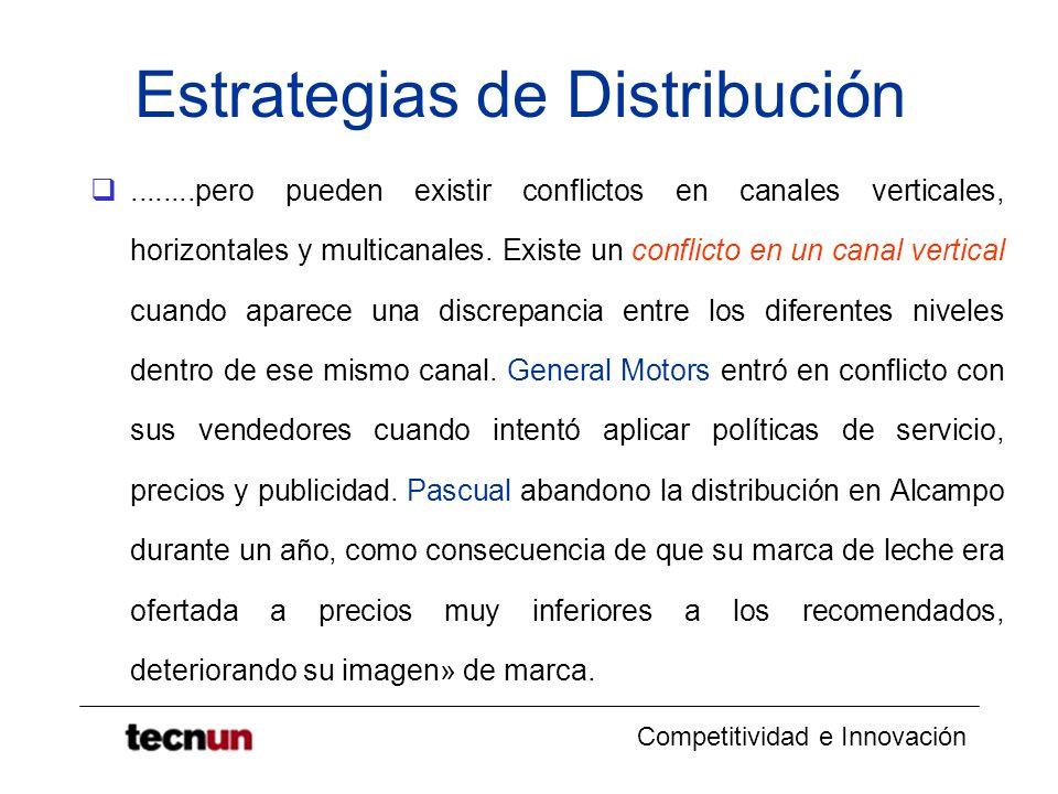 Competitividad e Innovación Estrategias de Distribución........pero pueden existir conflictos en canales verticales, horizontales y multicanales. Exis