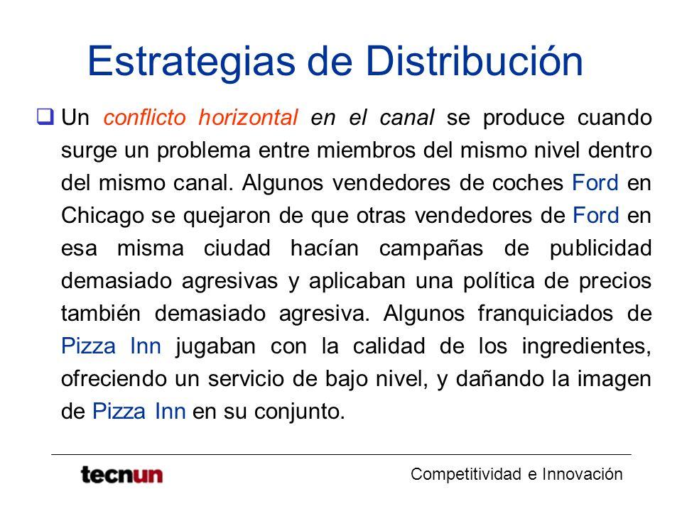 Competitividad e Innovación Estrategias de Distribución Un conflicto horizontal en el canal se produce cuando surge un problema entre miembros del mis