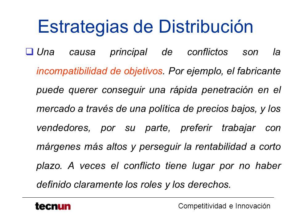 Competitividad e Innovación Estrategias de Distribución Una causa principal de conflictos son la incompatibilidad de objetivos. Por ejemplo, el fabric