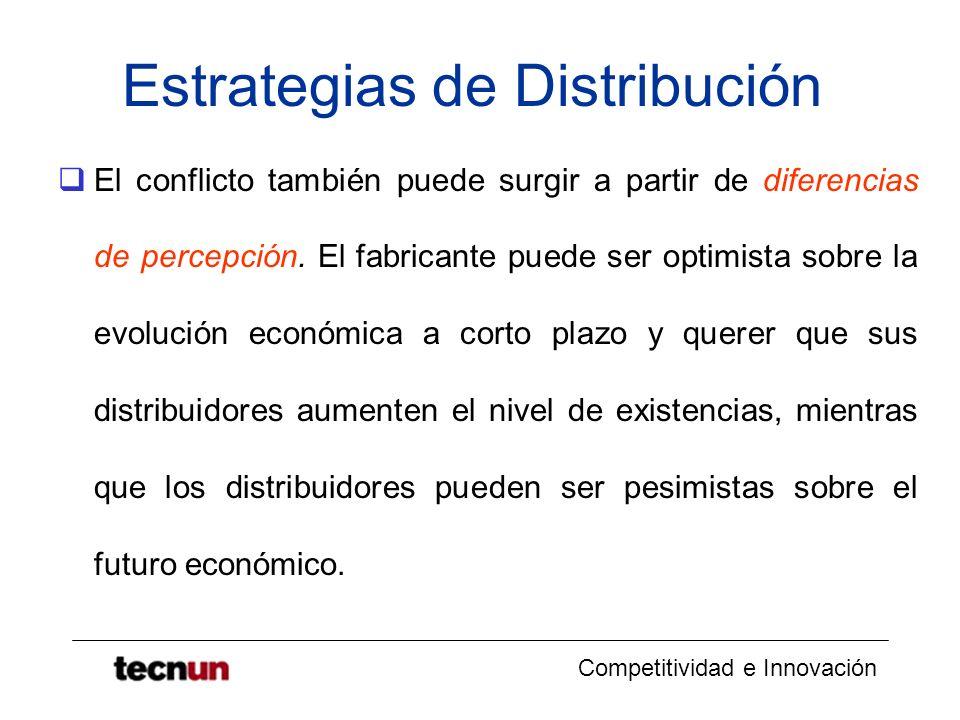 Competitividad e Innovación Estrategias de Distribución El conflicto también puede surgir a partir de diferencias de percepción. El fabricante puede s