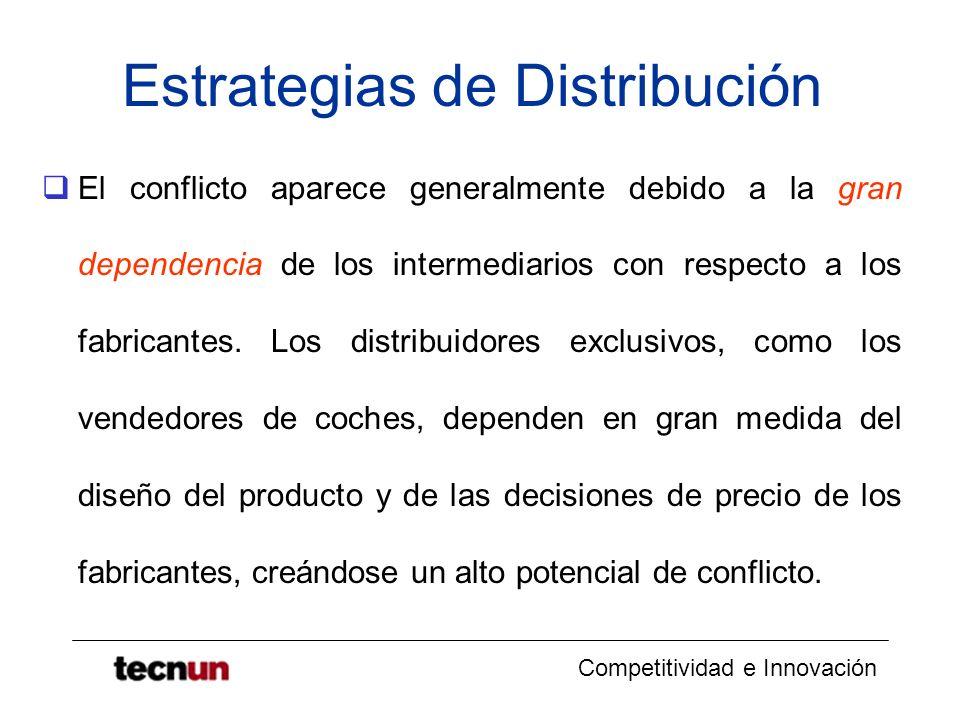 Competitividad e Innovación Estrategias de Distribución El conflicto aparece generalmente debido a la gran dependencia de los intermediarios con respe