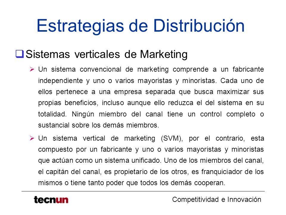Competitividad e Innovación Estrategias de Distribución El capitán del canal puede ser el fabricante, el distribuidor mayorista o el minorista.