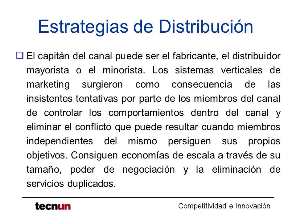 Competitividad e Innovación Estrategias de Distribución El capitán del canal puede ser el fabricante, el distribuidor mayorista o el minorista. Los si