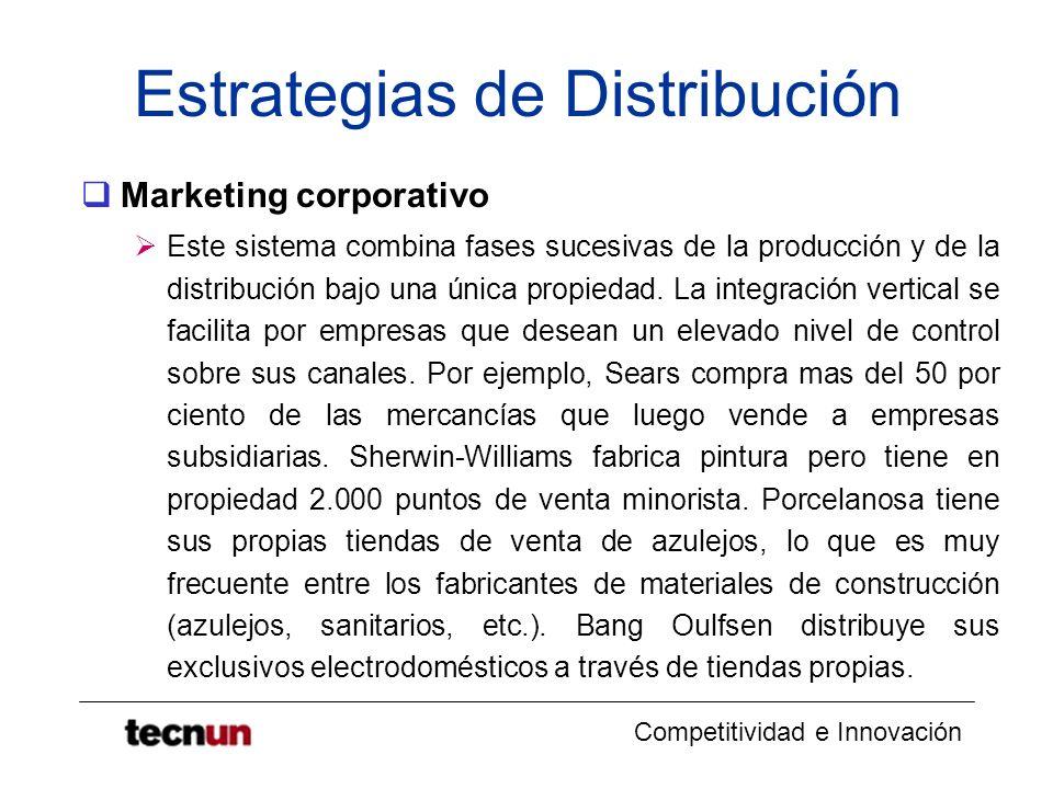 Competitividad e Innovación Estrategias de Distribución Marketing administrados Un sistema vertical de marketing administrado coordina sucesivas fases de la producción y de la distribución, a través del tamaño y poder de cada una de las partes.