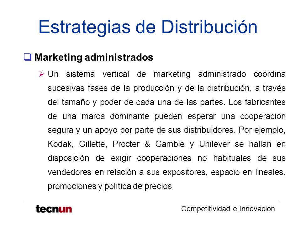 Competitividad e Innovación Estrategias de Distribución Marketing administrados Un sistema vertical de marketing administrado coordina sucesivas fases