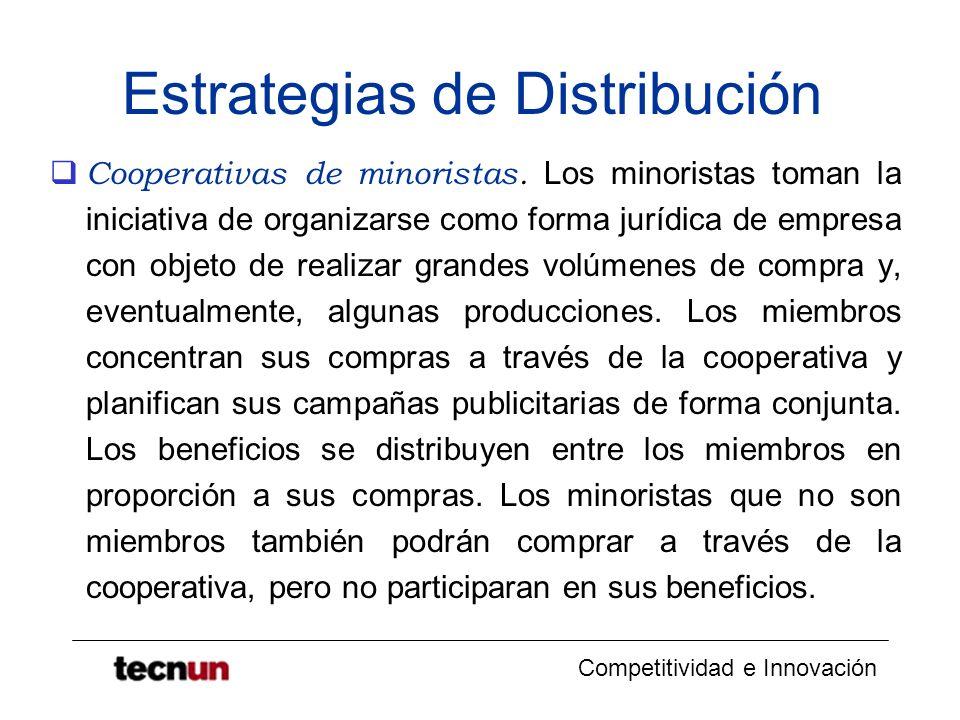 Competitividad e Innovación Estrategias de Distribución Zanussi y Fagor Venden electrodomésticos grandes a través de detallistas independientes (grandes almacenes, establecimientos especializados, venta por catalogo) y también venden directamente a empresas constructoras.