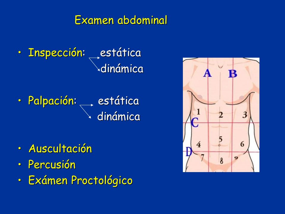 Examen abdominal Inspección: estáticaInspección: estática dinámica dinámica Palpación: estáticaPalpación: estática dinámica dinámica AuscultaciónAuscu