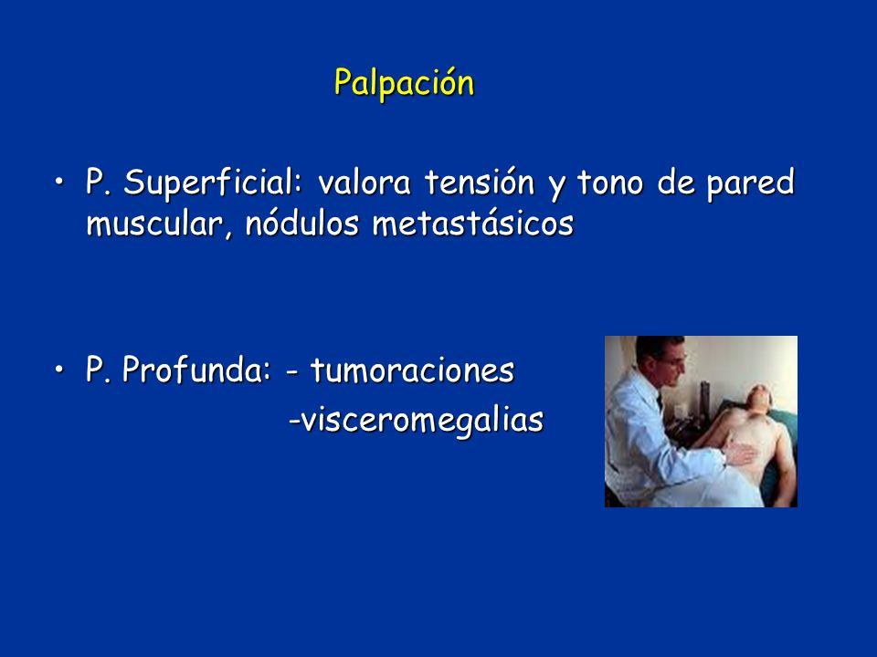 Palpación P. Superficial: valora tensión y tono de pared muscular, nódulos metastásicosP. Superficial: valora tensión y tono de pared muscular, nódulo