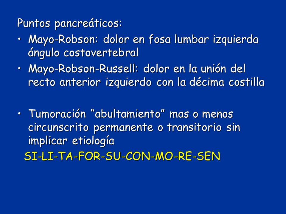 Puntos pancreáticos: Mayo-Robson: dolor en fosa lumbar izquierda ángulo costovertebralMayo-Robson: dolor en fosa lumbar izquierda ángulo costovertebra