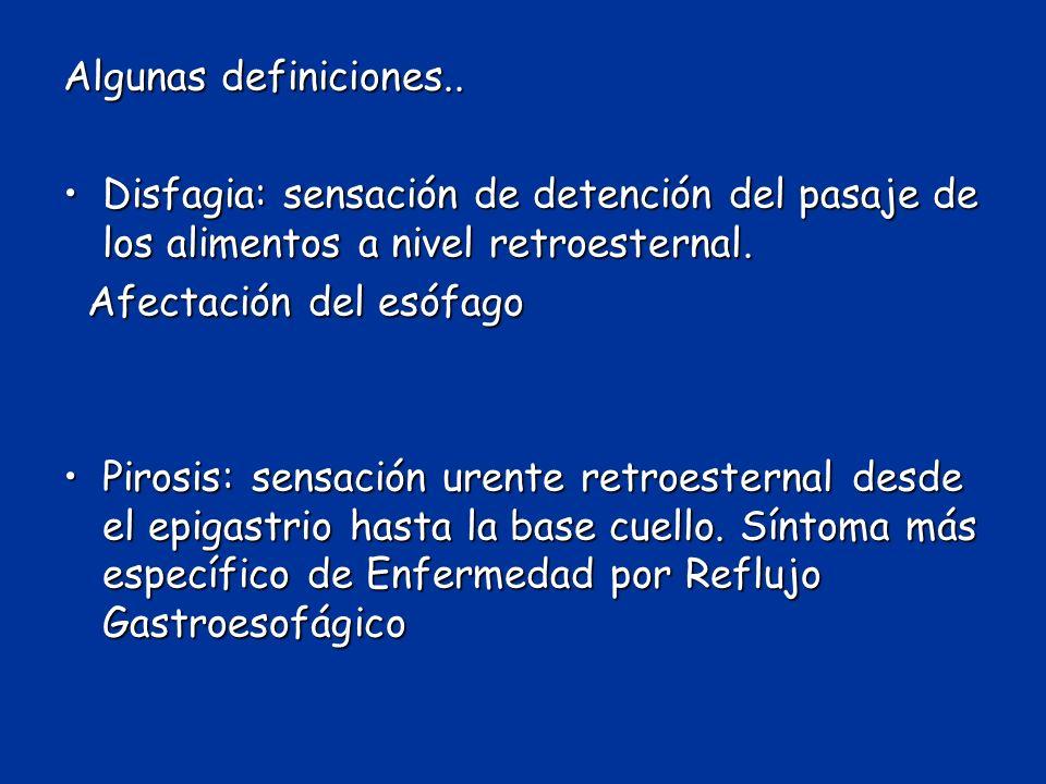 Algunas definiciones.. Disfagia: sensación de detención del pasaje de los alimentos a nivel retroesternal.Disfagia: sensación de detención del pasaje