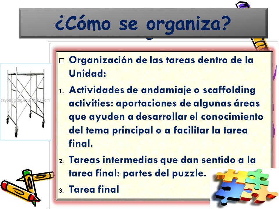Organización de las tareas dentro de la Unidad: 1. Actividades de andamiaje o scaffolding activities: aportaciones de algunas áreas que ayuden a desar
