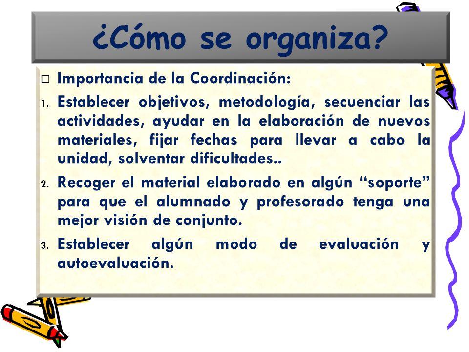 Importancia de la Coordinación: 1. Establecer objetivos, metodología, secuenciar las actividades, ayudar en la elaboración de nuevos materiales, fijar