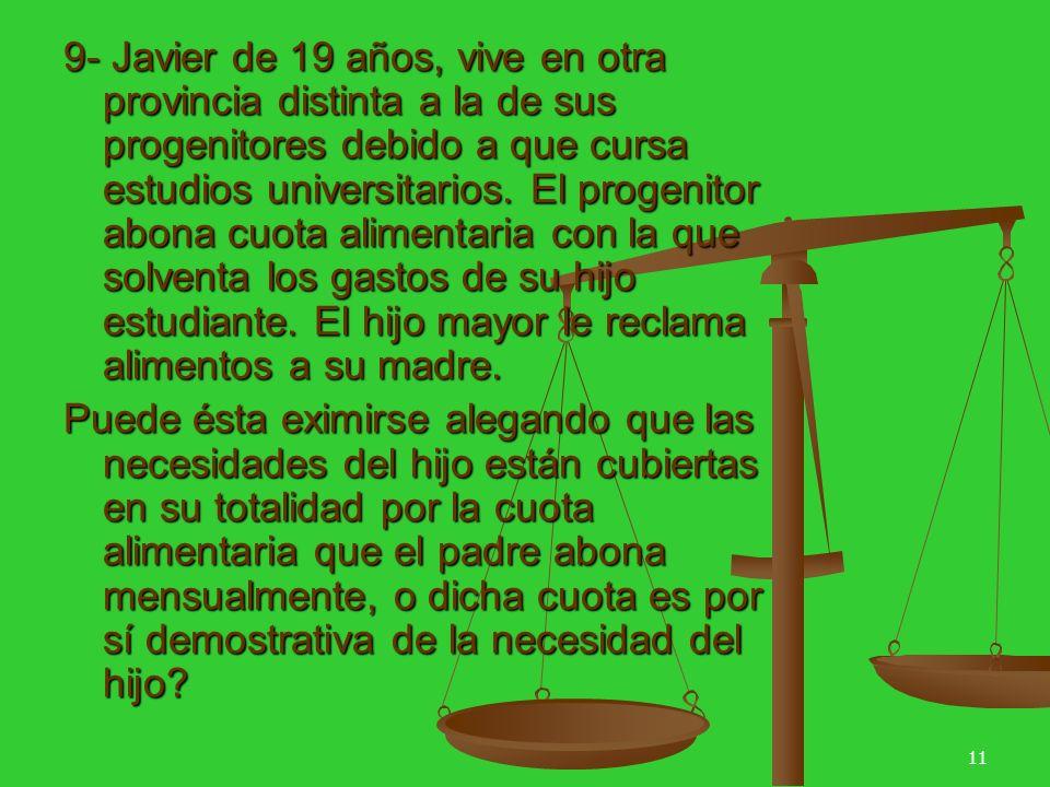11 9- Javier de 19 años, vive en otra provincia distinta a la de sus progenitores debido a que cursa estudios universitarios.