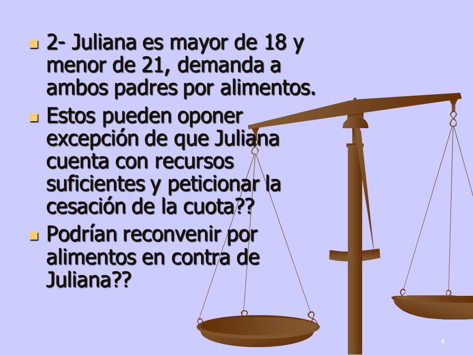 4 2- Juliana es mayor de 18 y menor de 21, demanda a ambos padres por alimentos.