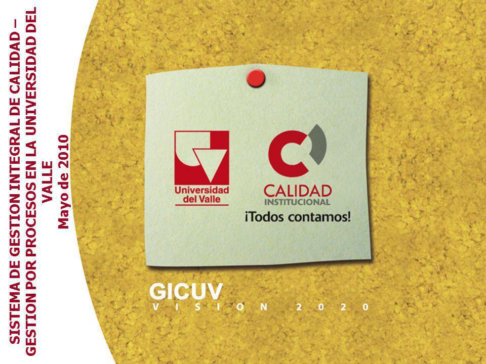 SISTEMA DE GESTION INTEGRAL DE CALIDAD – GESTION POR PROCESOS EN LA UNIVERSIDAD DEL VALLE Mayo de 2010