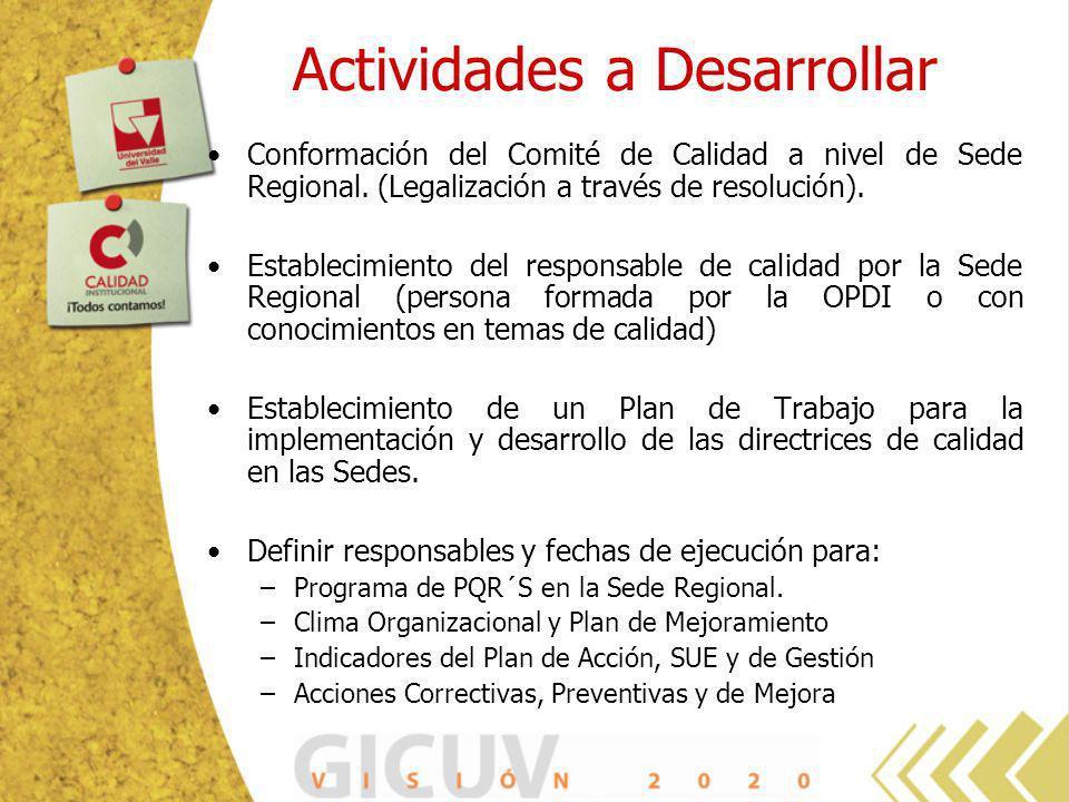 Actividades a Desarrollar Conformación del Comité de Calidad a nivel de Sede Regional. (Legalización a través de resolución). Establecimiento del resp