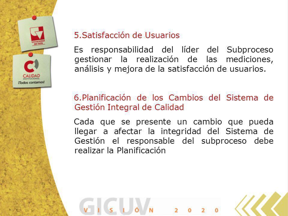 5.Satisfacción de Usuarios Es responsabilidad del líder del Subproceso gestionar la realización de las mediciones, análisis y mejora de la satisfacció