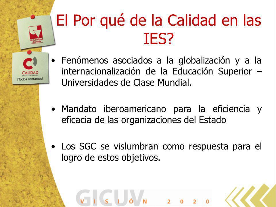 El Por qué de la Calidad en las IES? Fenómenos asociados a la globalización y a la internacionalización de la Educación Superior – Universidades de Cl